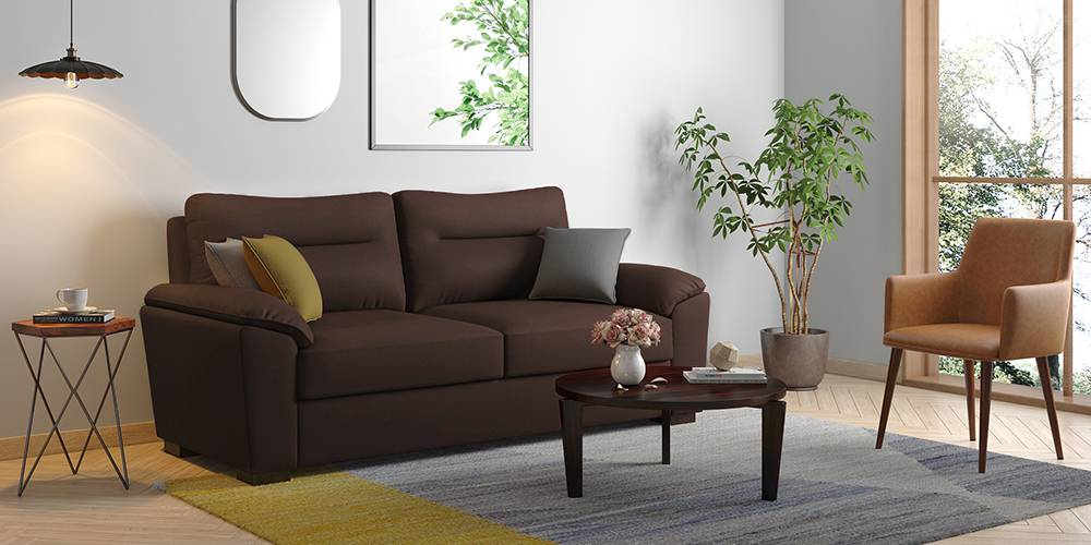 Adelaide Compact Leatherette Sofa (Chocolate) (Chocolate, 3-seater Custom Set - Sofas, None Standard Set - Sofas, Leatherette Sofa Material, Compact Sofa Size, Soft Cushion Type, Regular Sofa Type) by Urban Ladder - - 199480