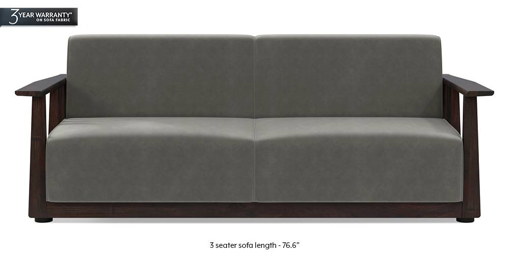 Serra Wooden Sofa - Mahogany Finish (Ash Grey Velvet) by Urban Ladder