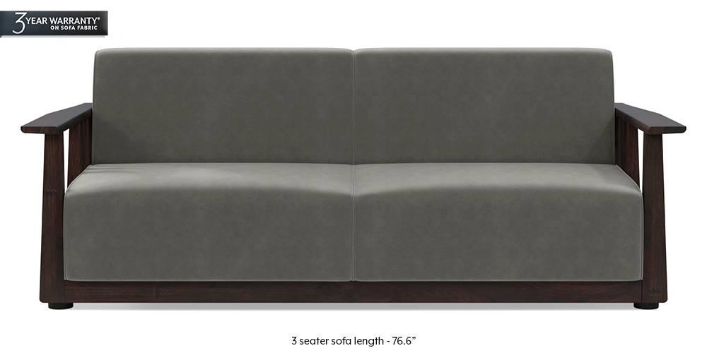 Serra Wooden Sofa - Mahogany Finish (Ash Grey Velvet) by Urban Ladder
