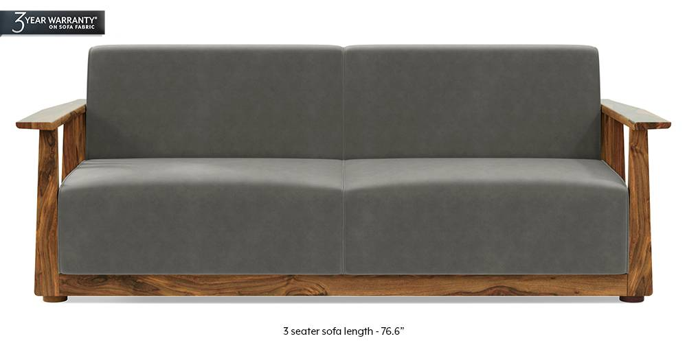 Serra Wooden Sofa - Teak Finish (Ash Grey Velvet) by Urban Ladder