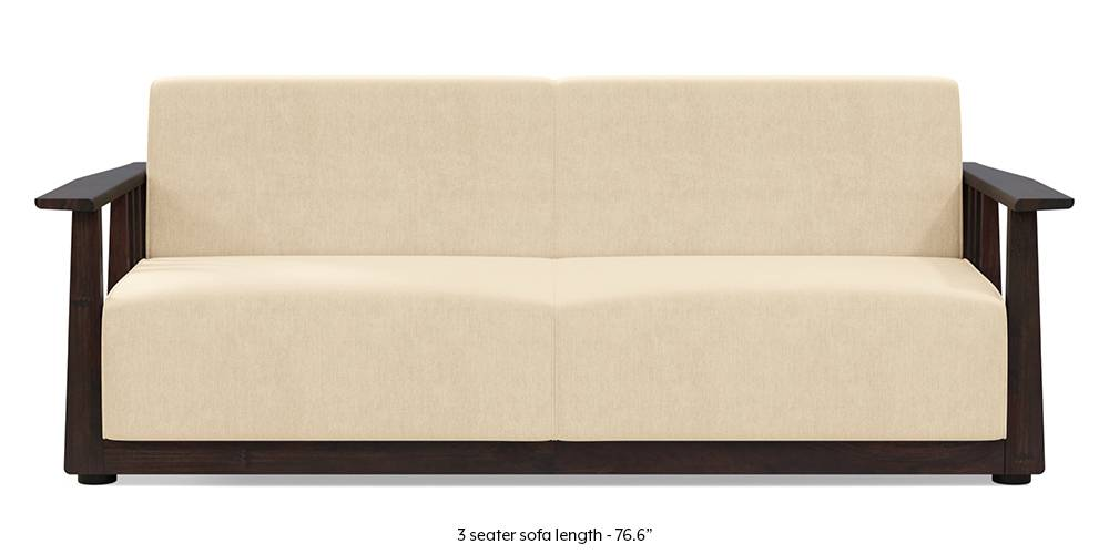 Serra Wooden Sofa - Mahogany Finish (Birch Beige) by Urban Ladder
