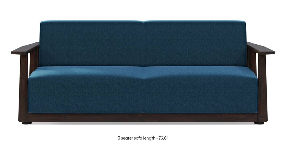 Serra Wooden Sofa - Mahogany Finish (Cobalt Blue) by Urban Ladder
