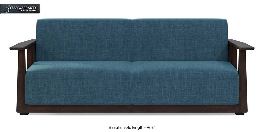 Serra Wooden Sofa - Mahogany Finish (Colonial Blue) by Urban Ladder