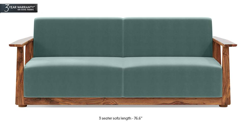 Serra Wooden Sofa - Teak Finish (Dusty Turquoise Velvet) by Urban Ladder