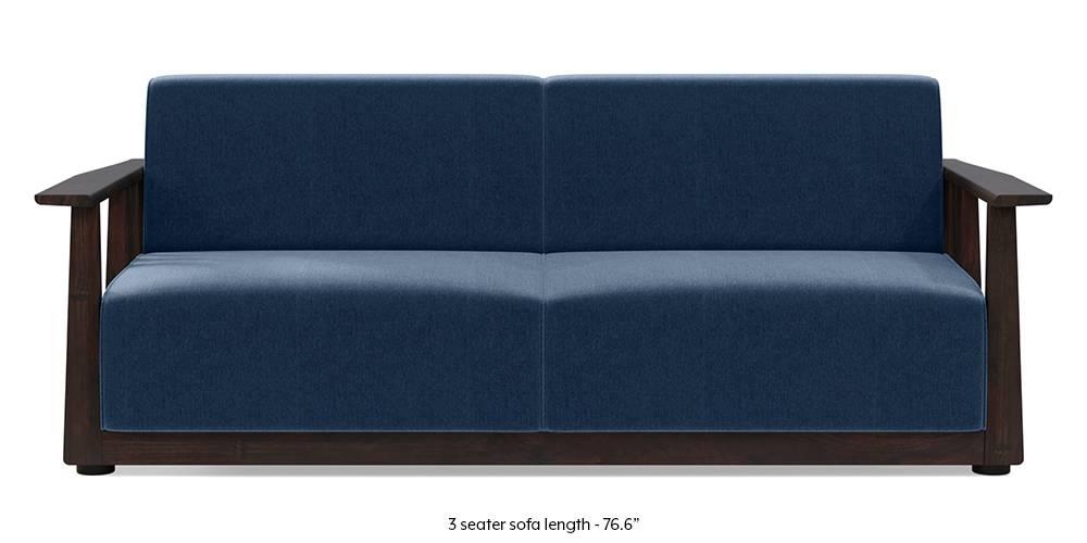 Serra Wooden Sofa - Mahogany Finish (Lapis Blue) by Urban Ladder