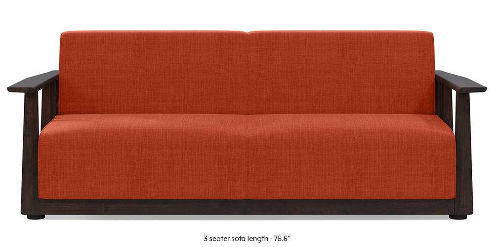 Serra Wooden Sofa - Mahogany Finish (Lava Rust) by Urban Ladder