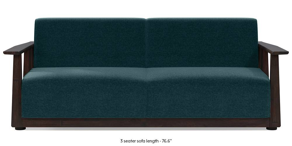 Serra Wooden Sofa - Mahogany Finish (Malibu Blue) by Urban Ladder