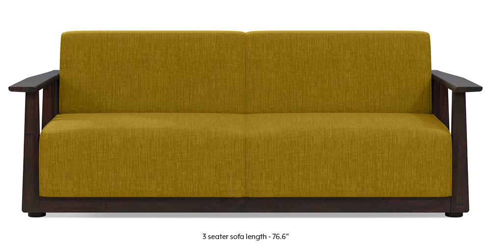 Serra Wooden Sofa Mahogany Finish Pebble Grey Urban Ladder