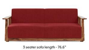 Serra Wooden Sofa - Teak Finish (Salsa Red)