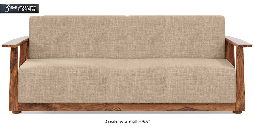 Serra Wooden Sofa - Teak Finish (Sandshell Beige) by Urban Ladder