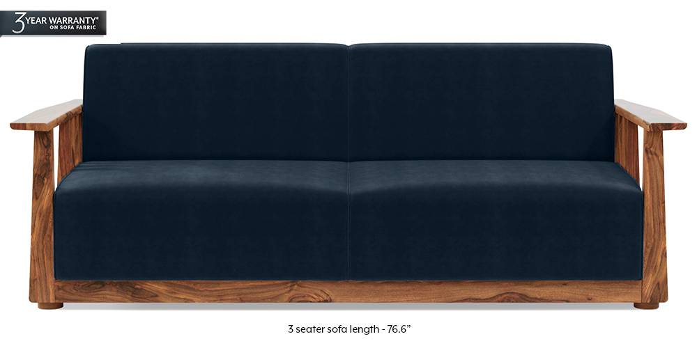 Serra Wooden Sofa - Teak Finish (Sea Portblue Vevlet) by Urban Ladder
