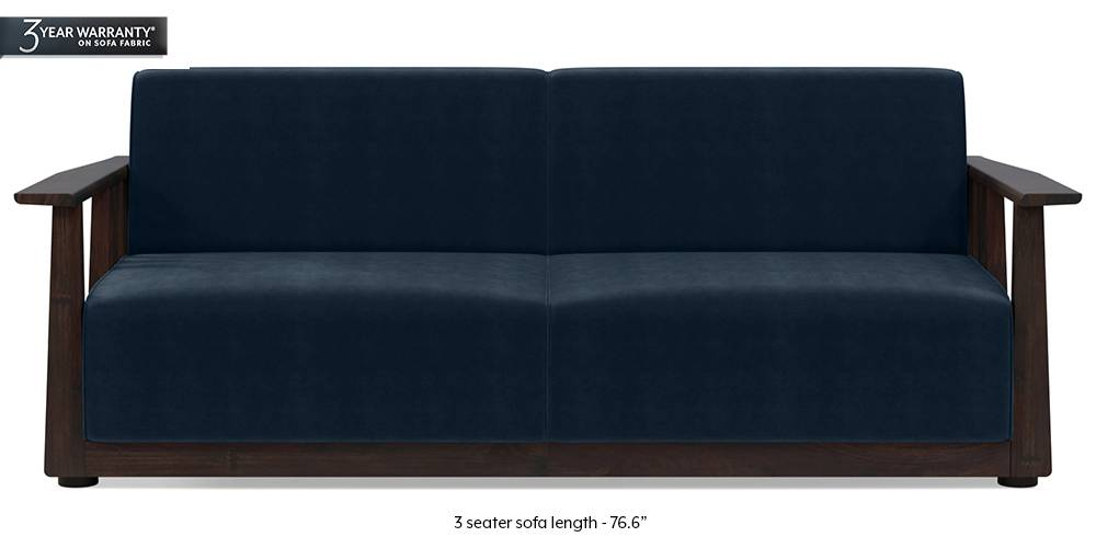 Serra Wooden Sofa - Mahogany Finish (Seaport Blue Velvet) (3-seater Custom Set - Sofas, None Standard Set - Sofas, Fabric Sofa Material, Regular Sofa Size, Soft Cushion Type, Regular Sofa Type, Sea Port Blue Velvet) by Urban Ladder
