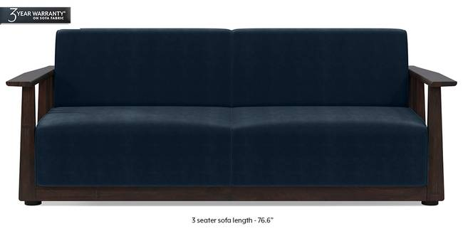 Serra Wooden Sofa - Mahogany Finish (Sea Port Blue Velvet) (3-seater Custom Set - Sofas, None Standard Set - Sofas, Fabric Sofa Material, Regular Sofa Size, Soft Cushion Type, Regular Sofa Type, Sea Port Blue Velvet)