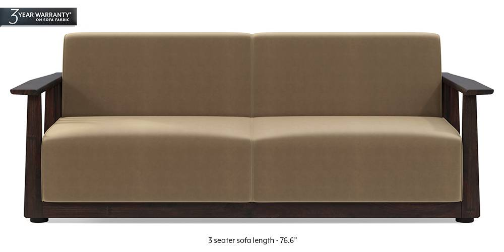 Serra Wooden Sofa - Mahogany Finish (Tuscan Tan Velvet) (3-seater Custom Set - Sofas, None Standard Set - Sofas, Fabric Sofa Material, Regular Sofa Size, Soft Cushion Type, Regular Sofa Type, Tuscan Tan Velvet) by Urban Ladder
