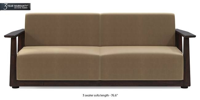 Serra Wooden Sofa - Mahogany Finish (Fawn Velvet) (3-seater Custom Set - Sofas, None Standard Set - Sofas, Fabric Sofa Material, Regular Sofa Size, Soft Cushion Type, Regular Sofa Type, Fawn Velvet)