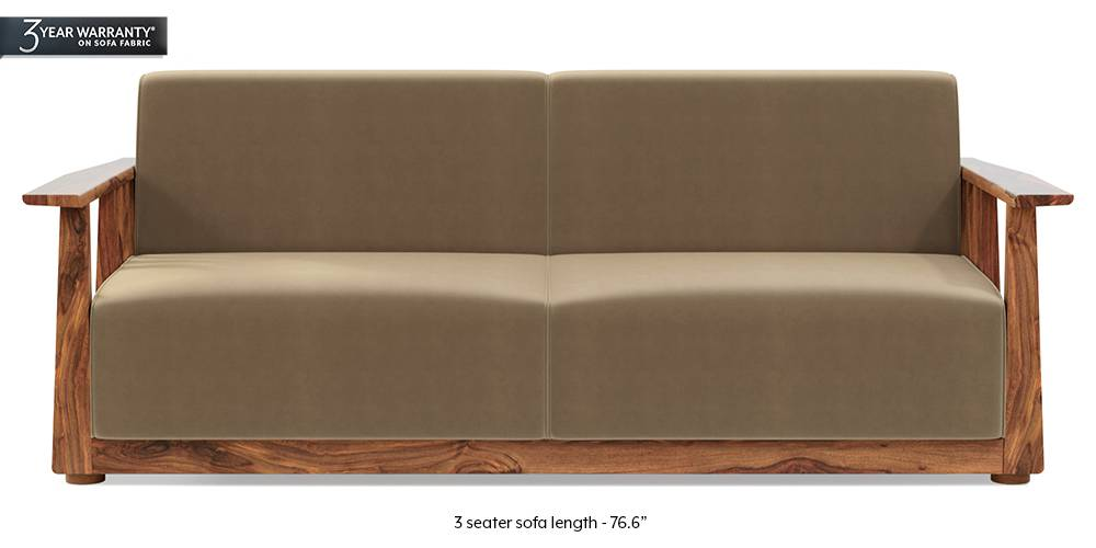 Serra Wooden Sofa - Teak Finish (Tuscan Tan Velvet) by Urban Ladder