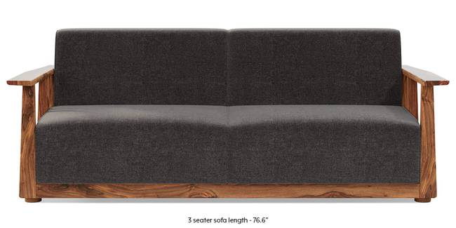 Serra Wooden Sofa - Teak Finish (Smoke Grey) (1-seater Custom Set - Sofas, None Standard Set - Sofas, Smoke, Fabric Sofa Material, Regular Sofa Size, Soft Cushion Type, Regular Sofa Type)