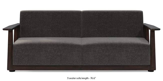 Serra Wooden Sofa - Mahogany Finish (Smoke Grey) (3-seater Custom Set - Sofas, None Standard Set - Sofas, Smoke, Fabric Sofa Material, Regular Sofa Size, Soft Cushion Type, Regular Sofa Type)