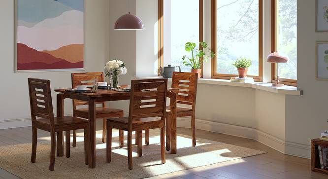 Catria - Capra 4 Seater Dining Table Set (Teak Finish) by Urban Ladder - Design 1 Full View - 200694