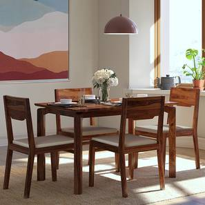 Catria - Kerry 4 Seater Dining Set (Teak Finish, Wheat Brown) by Urban Ladder