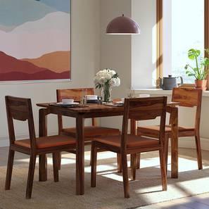 Catria - Kerry 4 Seater Dining Set (Teak Finish, Burnt Orange) by Urban Ladder