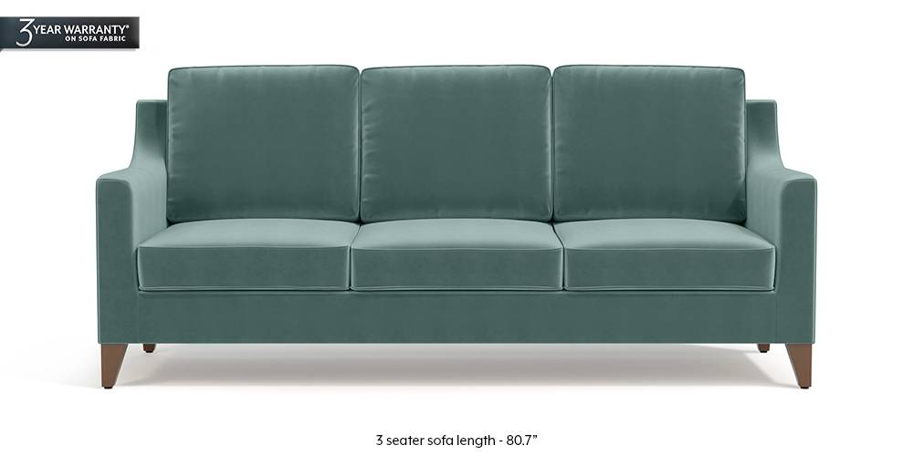 Abbey Sofa (Dusty Turquoise Velvet) by Urban Ladder