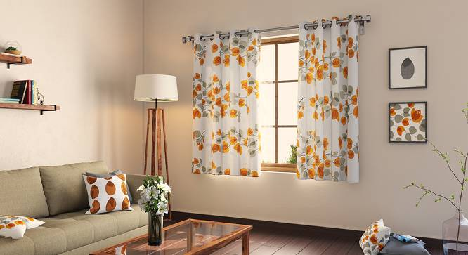 "Amoga Window Curtains - Set Of 2 (Amoga Ochre - Evening Mist, 54"" x 60"" Curtain Size) by Urban Ladder"