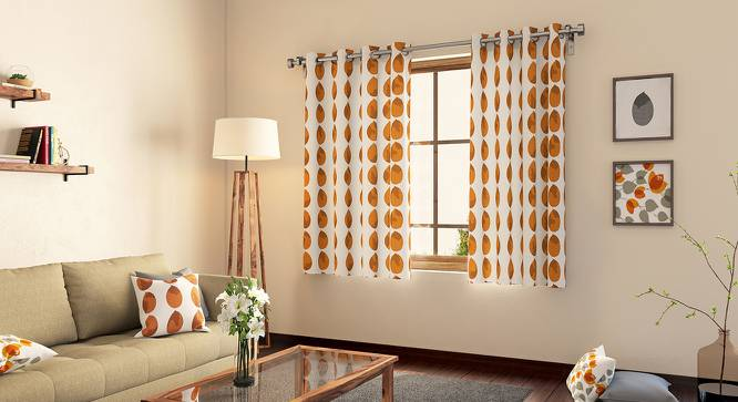"Amoga Window Curtains - Set Of 2 (Amoga Ochre - Sunburst, 54"" x 60"" Curtain Size) by Urban Ladder"