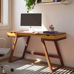 Truman Study Table (Teak Finish, Passion Flower) by Urban Ladder - Design 1 Full View - 201802