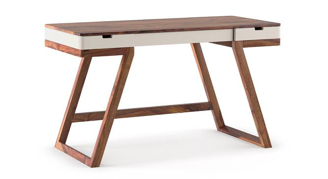 Truman Study Table (Teak Finish, Creamy Crust) by Urban Ladder