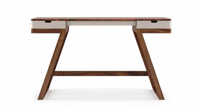 Truman Study Table (Teak Finish, Creamy Crust) by Urban Ladder - Front View Design 1 - 201811