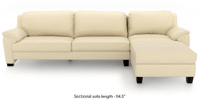 Farina Half Leather Sectional Sofa (Cream Italian Leather) (Cream, Regular Sofa Size, Sectional Sofa Type, Leather Sofa Material)