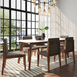 Galatea Marble 6 Seater Dining Set (Teak Finish) by Urban Ladder