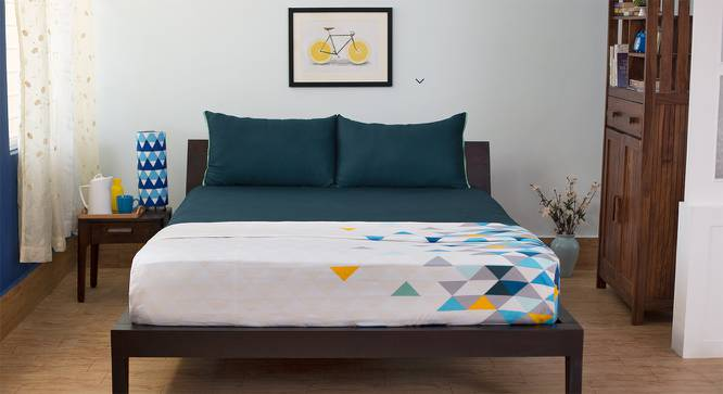 Serena 300 TC Sateen Bedsheet Set (King Size,  Solid Midnight Blue) by Urban Ladder