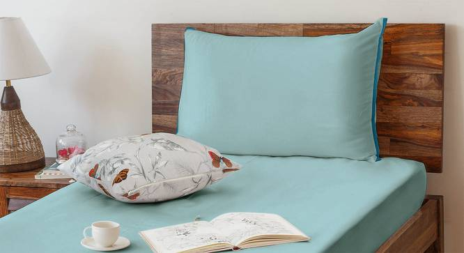 Serena 300 TC Sateen Bedsheet Set (Single Size, Solid Aqua Haze) by Urban Ladder