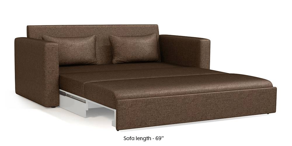 Apollo Sofa Cum Bed (Mocha Brown) (3-seater Custom Set - Sofas, None Standard Set - Sofas, Mocha, Fabric Sofa Material, Regular Sofa Size, Regular Sofa Type) by Urban Ladder