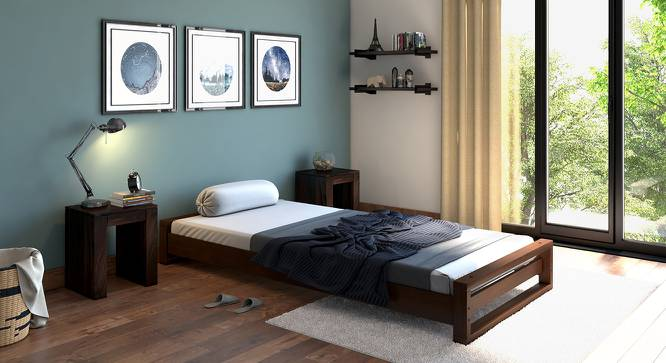 Yuri Single Bed with Mattress (Dark Walnut Finish) by Urban Ladder - Design 1 Full View - 204393