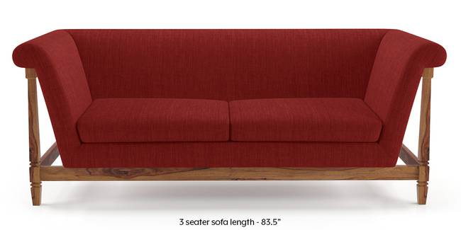 Malabar Wooden Sofa (Salsa Red) (None Standard Set - Sofas, Left Aligned Chaise Custom Set - Sofas, Fabric Sofa Material, Regular Sofa Size, Soft Cushion Type, Regular Sofa Type, Salsa Red)