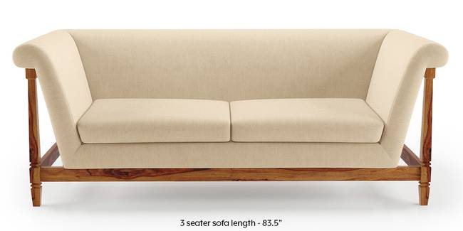 Malabar Wooden Sofa (Birch Beige) (3-seater Custom Set - Sofas, None Standard Set - Sofas, Fabric Sofa Material, Regular Sofa Size, Soft Cushion Type, Regular Sofa Type, Birch Beige)