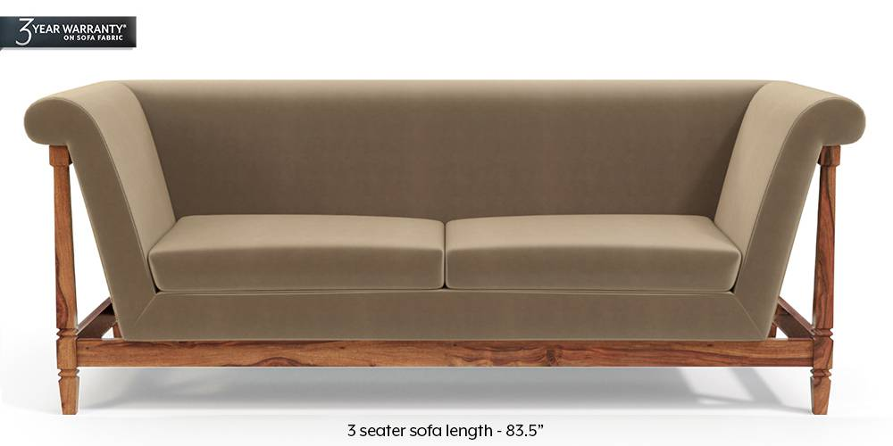 Malabar Wooden Sofa (Tuscan Tan Velvet) by Urban Ladder