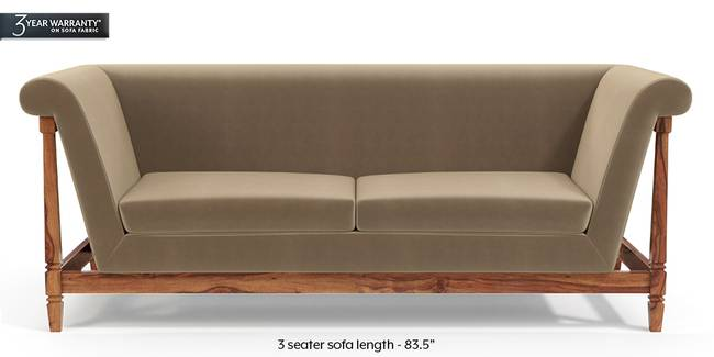 Malabar Wooden Sofa (Fawn Velvet) (3-seater Custom Set - Sofas, None Standard Set - Sofas, Fabric Sofa Material, Regular Sofa Size, Soft Cushion Type, Regular Sofa Type, Fawn Velvet)