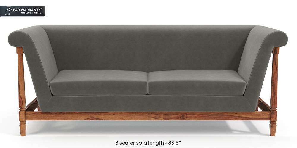 Malabar Wooden Sofa (Ash Grey Velvet) by Urban Ladder