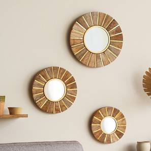 Garda Wall Mirror - Set Of 3 (Natural Finish) by Urban Ladder