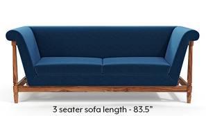 Malabar Wooden Sofa (Cobalt Blue)