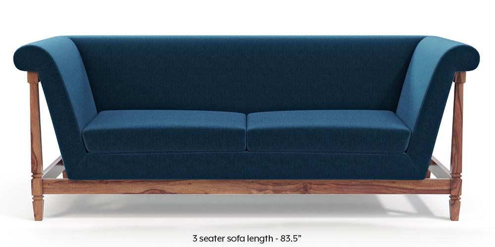 Malabar Wooden Sofa (Cobalt Blue) by Urban Ladder