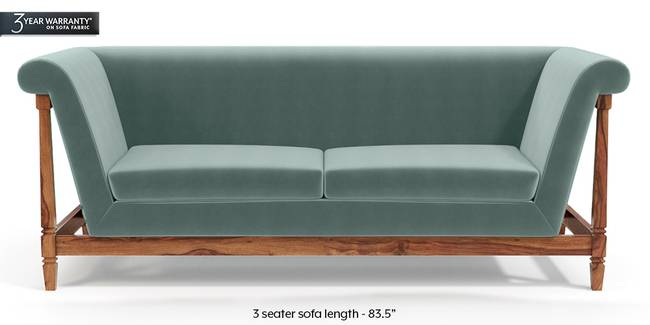 Malabar Wooden Sofa (Dusty Turquoise Velvet) (1-seater Custom Set - Sofas, None Standard Set - Sofas, Fabric Sofa Material, Regular Sofa Size, Soft Cushion Type, Regular Sofa Type, Dusty Turquoise Velvet)