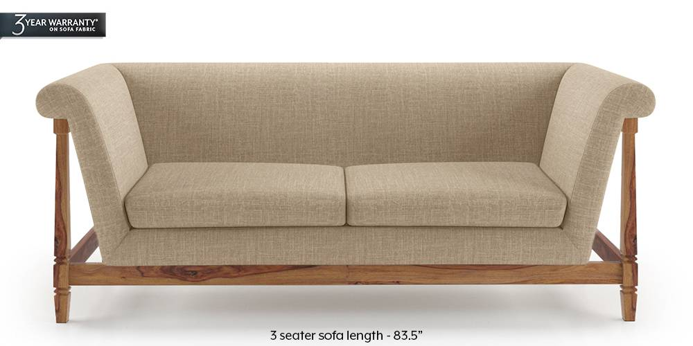 Malabar Wooden Sofa (Sandshell Beige) by Urban Ladder