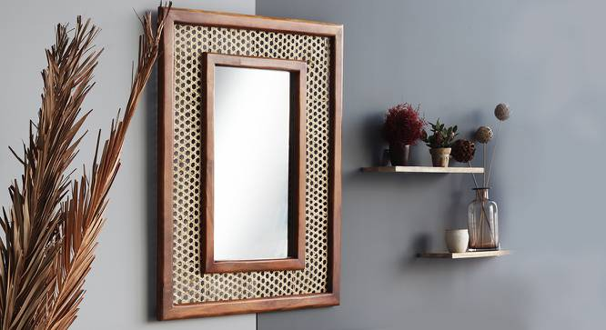 Constance Wall Mirror (Walnut Finish, Rectangle Mirror Shape) by Urban Ladder