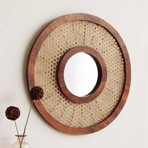 Constance Wall Mirror (Walnut Finish, Round Mirror Shape) by Urban Ladder