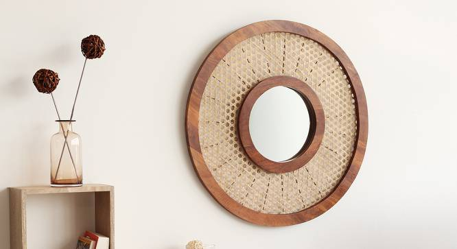 Constance Wall Mirror (Walnut Finish, Round Mirror Shape) by Urban Ladder